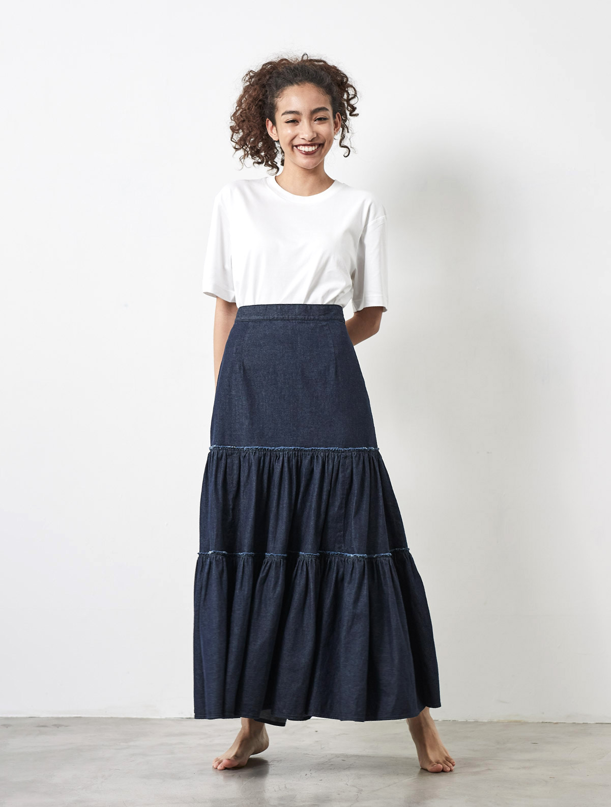 TIERED LONG FLARE SKIRT