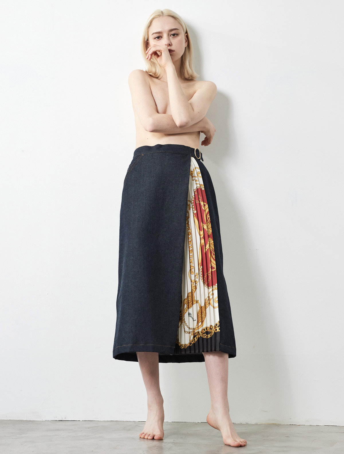 SIDE SCARF PRINTED LONG FLARE SKIRT